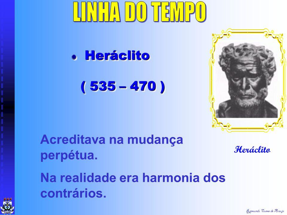 LINHA DO TEMPO Heráclito ( 535 – 470 ) Acreditava na mudança perpétua.