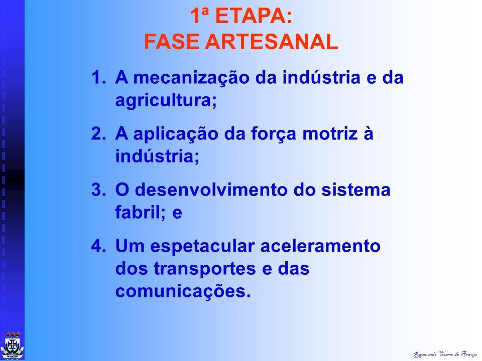 1ª ETAPA: FASE ARTESANAL A mecanização da indústria e da agricultura;