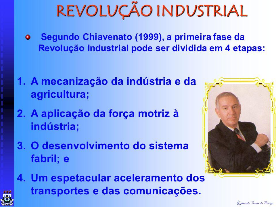 REVOLUÇÃO INDUSTRIAL A mecanização da indústria e da agricultura;