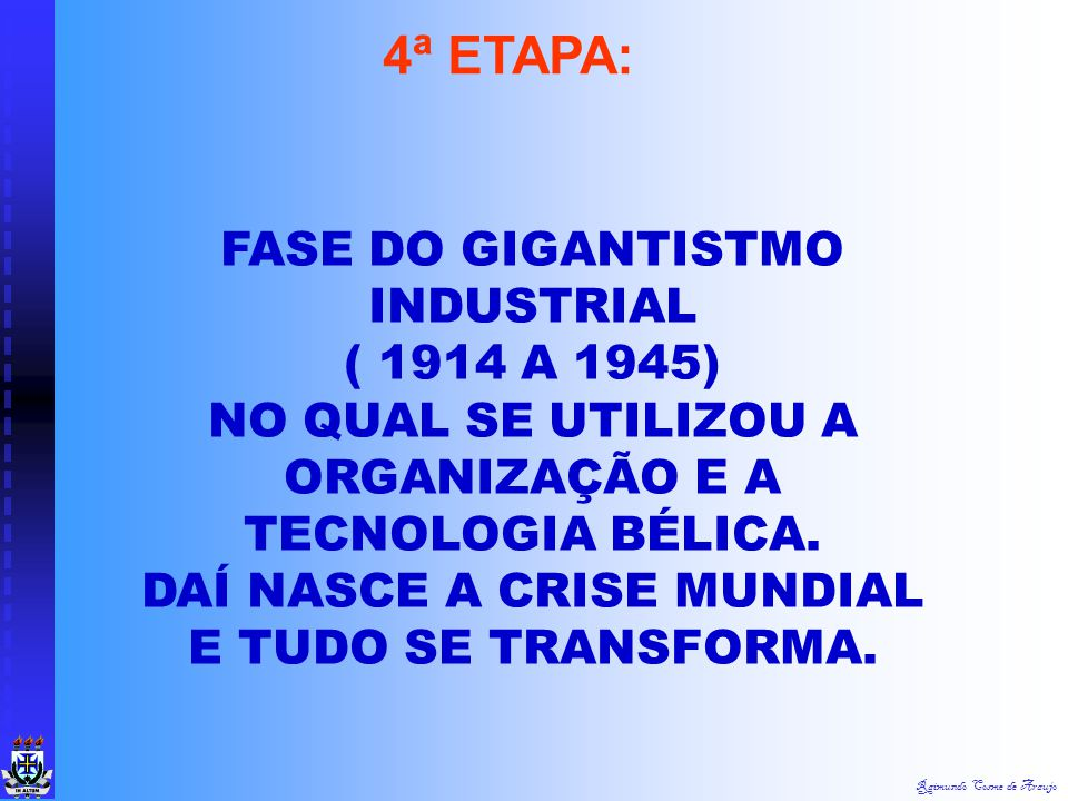 4ª ETAPA: FASE DO GIGANTISTMO INDUSTRIAL ( 1914 A 1945)