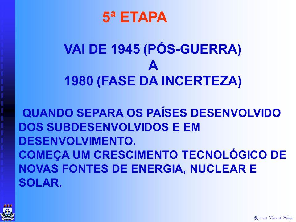 5ª ETAPA VAI DE 1945 (PÓS-GUERRA) A 1980 (FASE DA INCERTEZA)