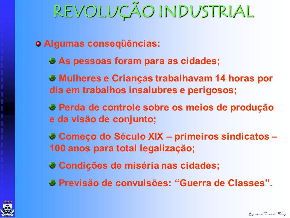 REVOLUÇÃO INDUSTRIAL Algumas conseqüências: