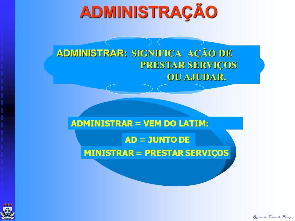 ADMINISTRAÇÃO ADMINISTRAR: SIGNIFICA AÇÃO DE PRESTAR SERVIÇOS OU AJUDAR. ADMINISTRAR = VEM DO LATIM: