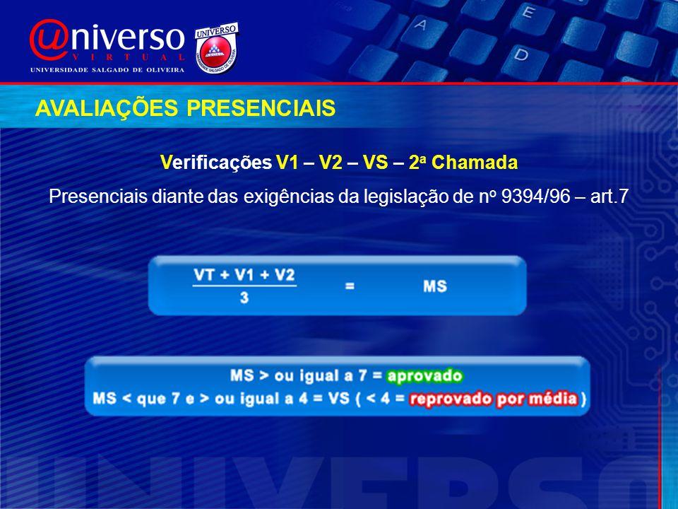 Verificações V1 – V2 – VS – 2a Chamada