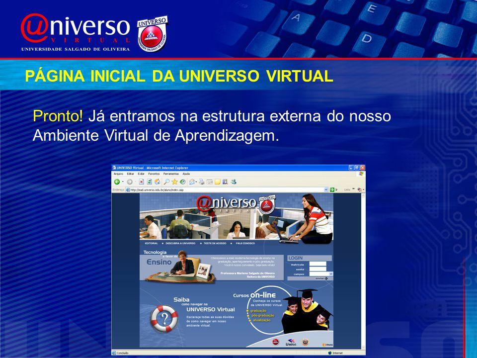 PÁGINA INICIAL DA UNIVERSO VIRTUAL