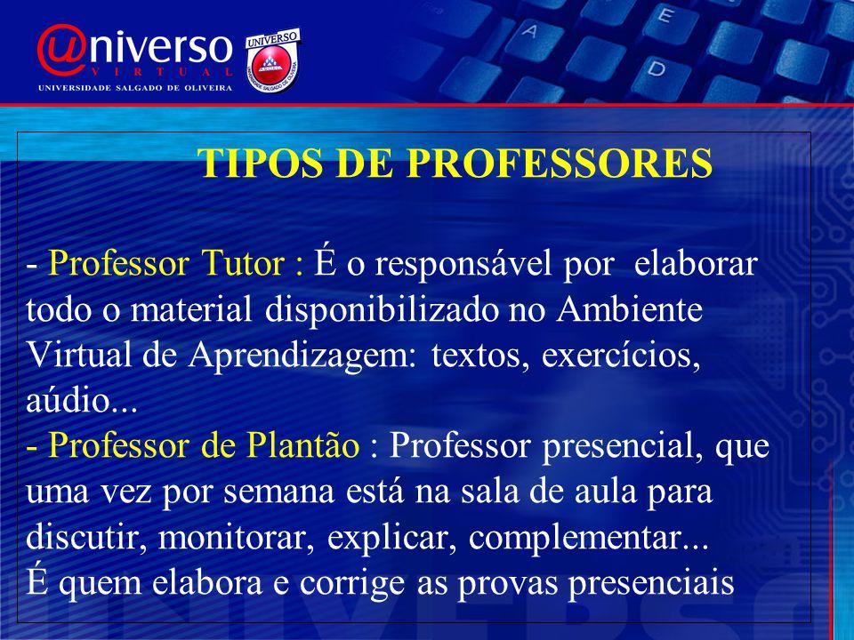 TIPOS DE PROFESSORES - Professor Tutor : É o responsável por elaborar todo o material disponibilizado no Ambiente Virtual de Aprendizagem: textos, exercícios, aúdio...
