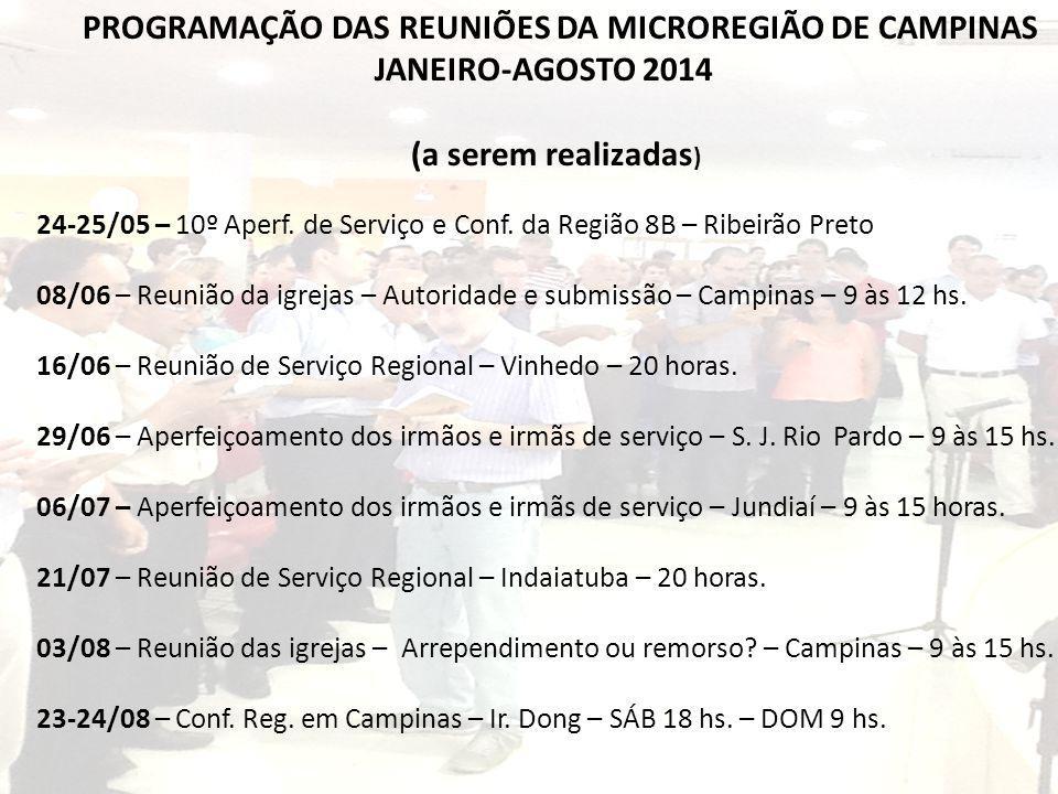 PROGRAMAÇÃO DAS REUNIÕES DA MICROREGIÃO DE CAMPINAS JANEIRO-AGOSTO 2014