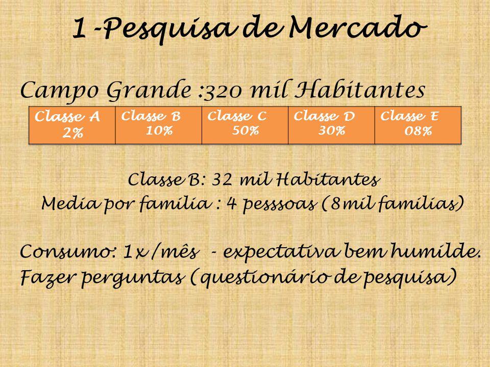 1-Pesquisa de Mercado Campo Grande :320 mil Habitantes