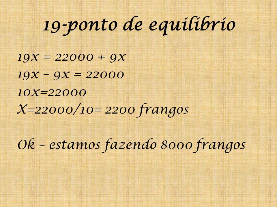 19-ponto de equilibrio 19x = 22000 + 9x 19x – 9x = 22000 10x=22000 X=22000/10= 2200 frangos Ok – estamos fazendo 8000 frangos