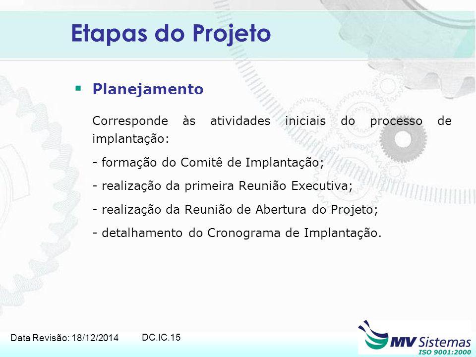Etapas do Projeto Planejamento - formação do Comitê de Implantação;