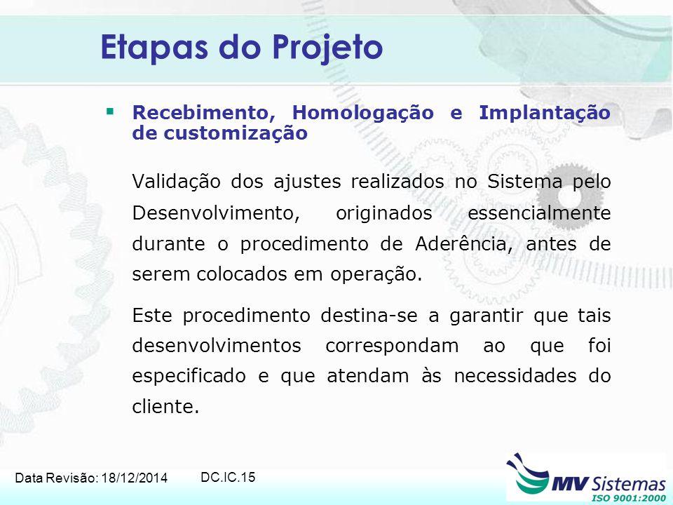 Etapas do Projeto Recebimento, Homologação e Implantação de customização.