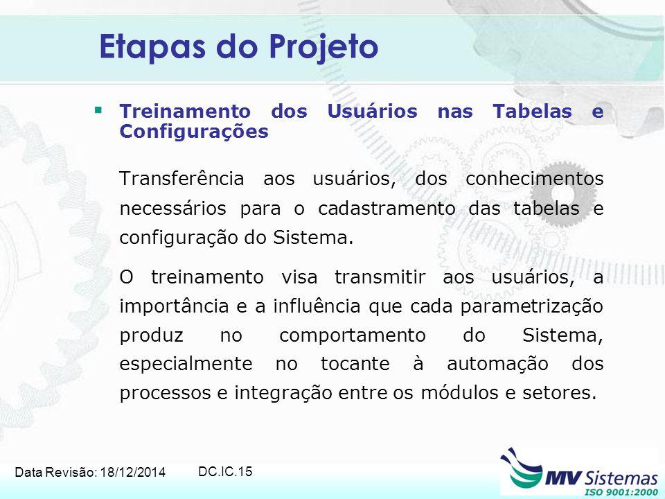 Etapas do Projeto Treinamento dos Usuários nas Tabelas e Configurações.