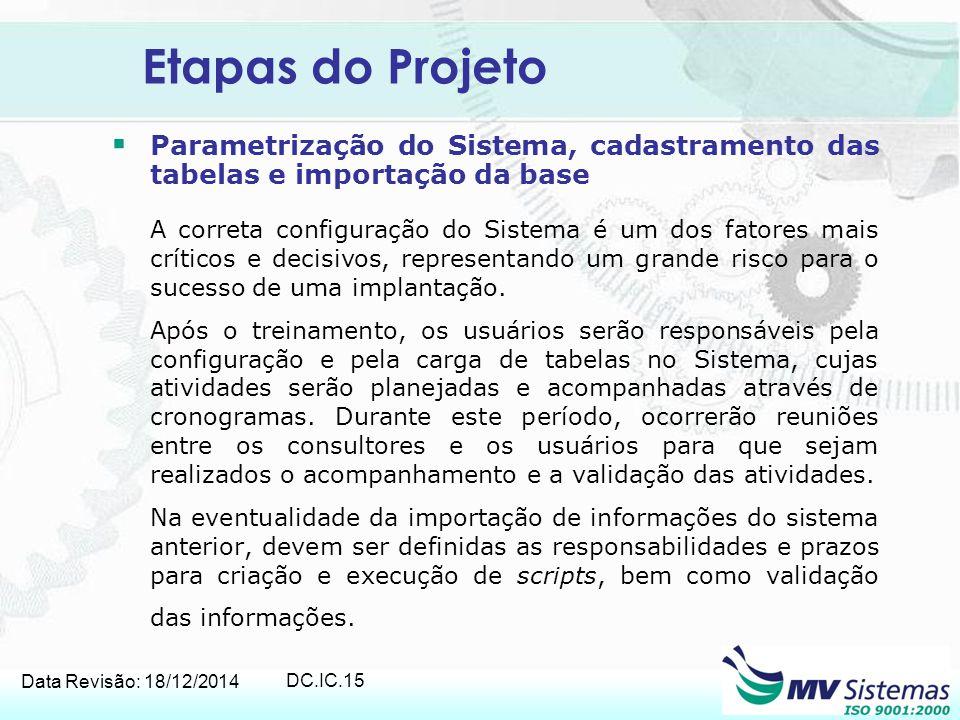 Etapas do Projeto Parametrização do Sistema, cadastramento das tabelas e importação da base.