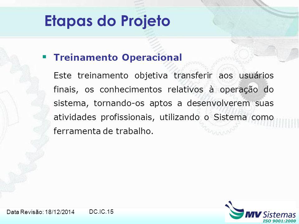 Etapas do Projeto Treinamento Operacional