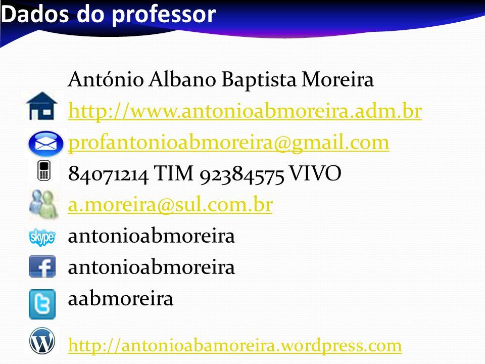 Dados do professor António Albano Baptista Moreira