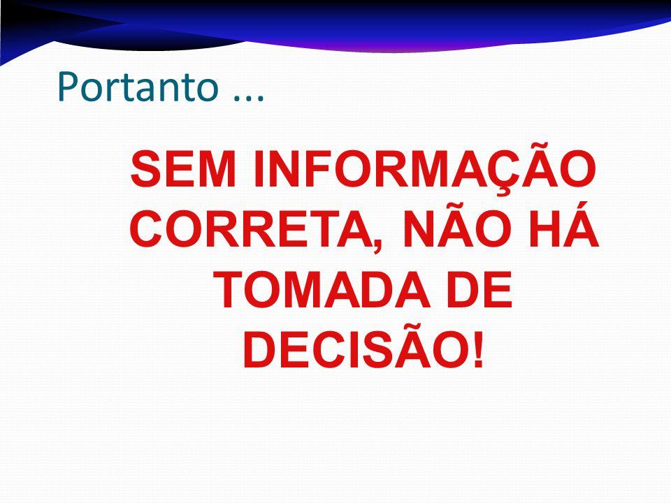 SEM INFORMAÇÃO CORRETA, NÃO HÁ TOMADA DE DECISÃO!