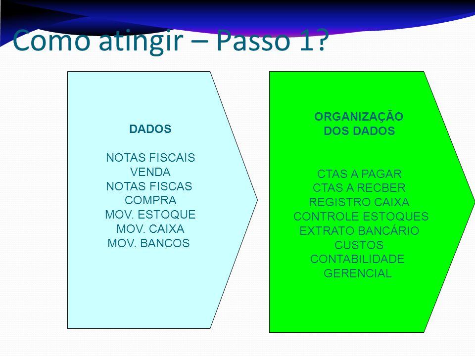 Como atingir – Passo 1 DADOS DOS DADOS NOTAS FISCAIS VENDA