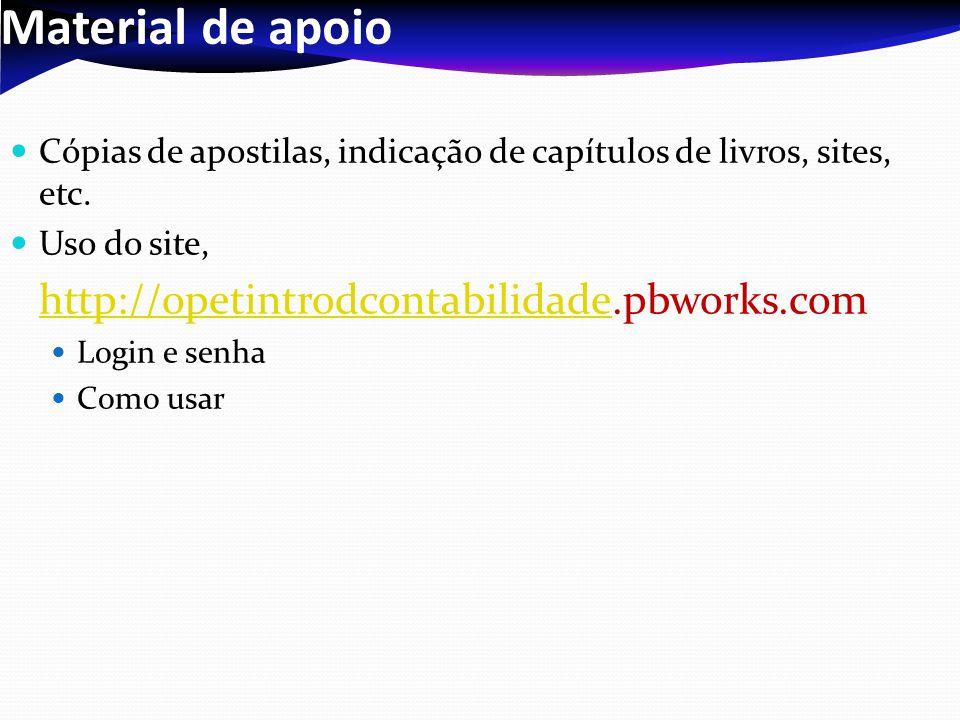 Material de apoio Cópias de apostilas, indicação de capítulos de livros, sites, etc. Uso do site, http://opetintrodcontabilidade.pbworks.com.