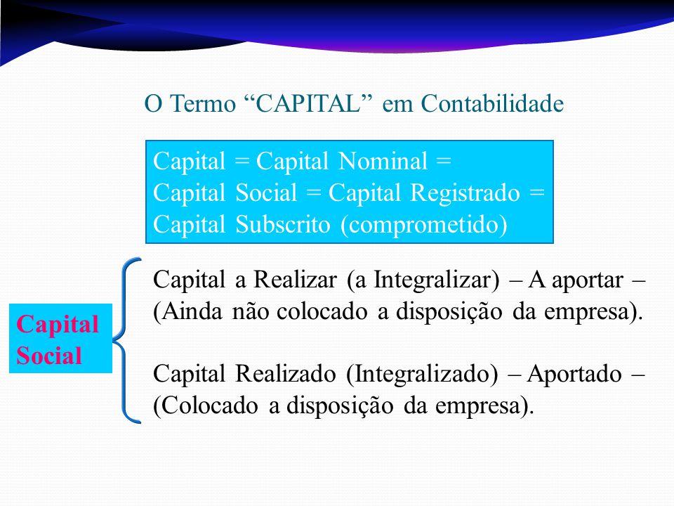 Capital a Realizar (a Integralizar) – A aportar – (Ainda não colocado a disposição da empresa).