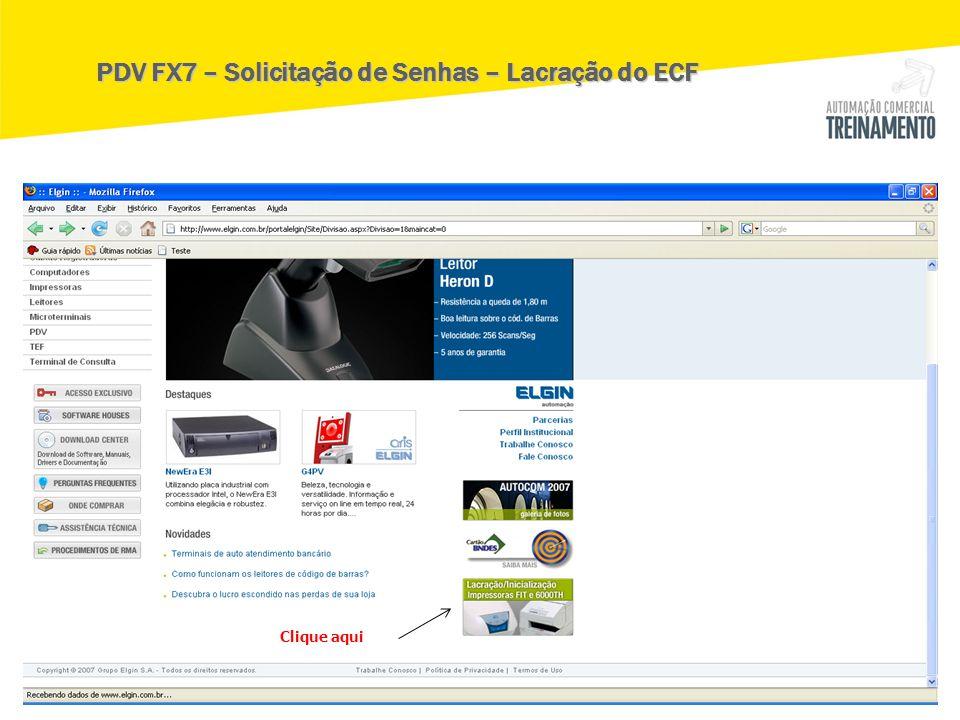 PDV FX7 – Solicitação de Senhas – Lacração do ECF