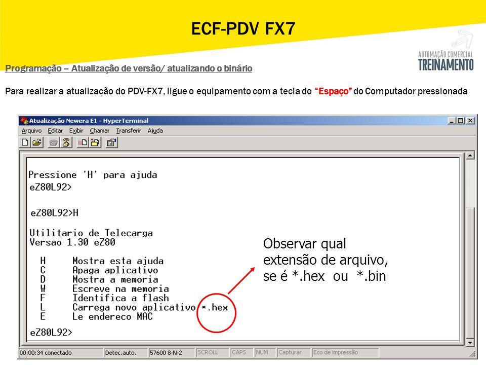 ECF-PDV FX7 Observar qual extensão de arquivo, se é *.hex ou *.bin
