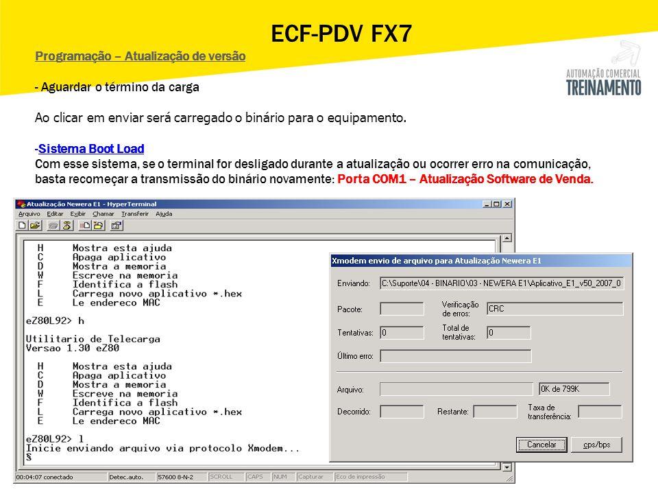 ECF-PDV FX7 Programação – Atualização de versão