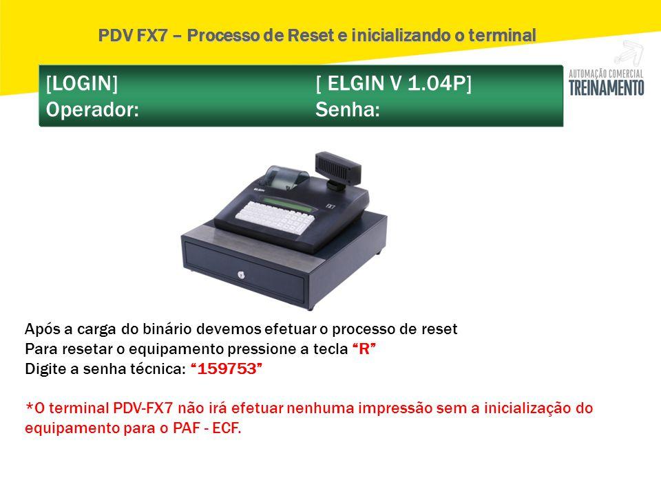 PDV FX7 – Processo de Reset e inicializando o terminal