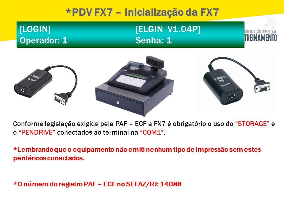 *PDV FX7 – Inicialização da FX7