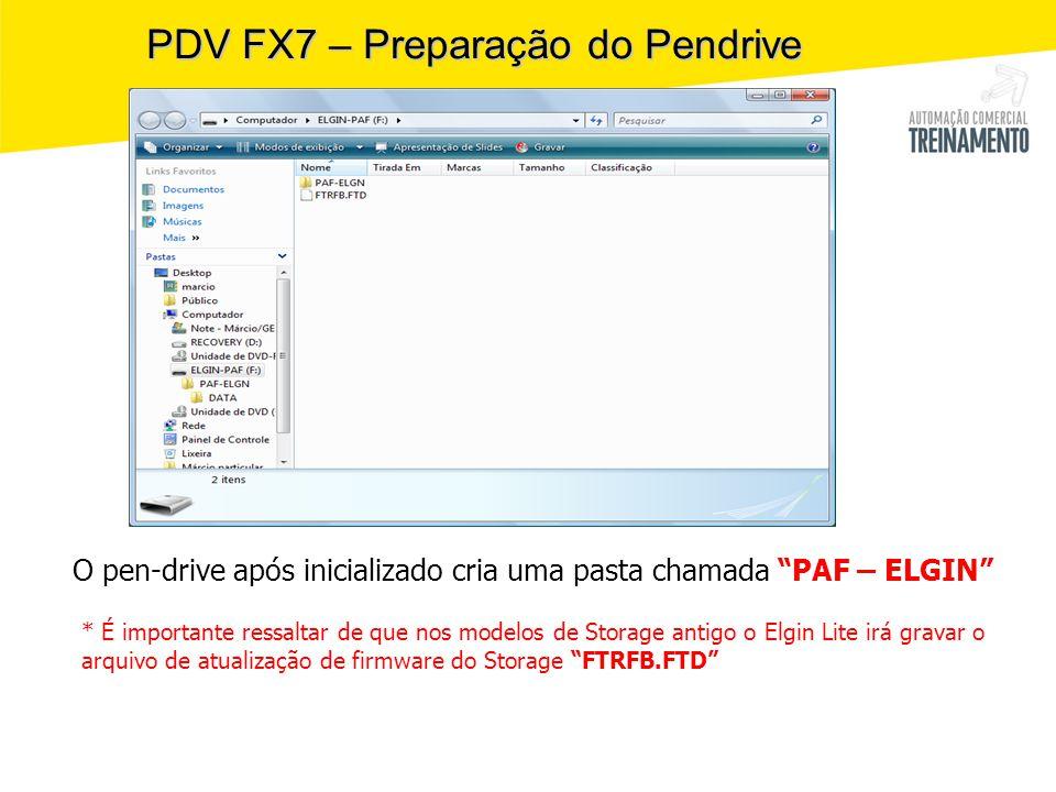 PDV FX7 – Preparação do Pendrive