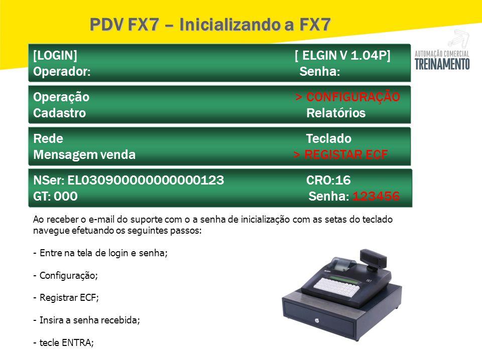 PDV FX7 – Inicializando a FX7