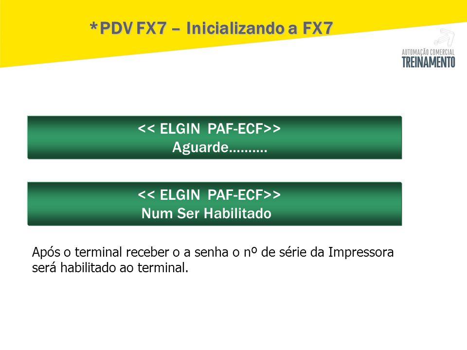 *PDV FX7 – Inicializando a FX7
