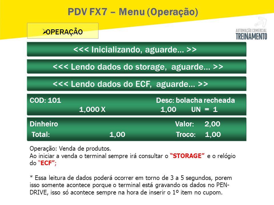 PDV FX7 – Menu (Operação)