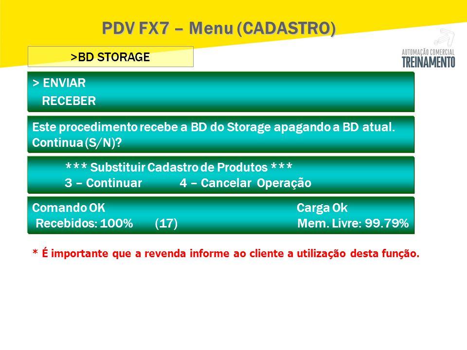 PDV FX7 – Menu (CADASTRO)