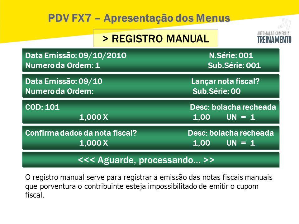 PDV FX7 – Apresentação dos Menus