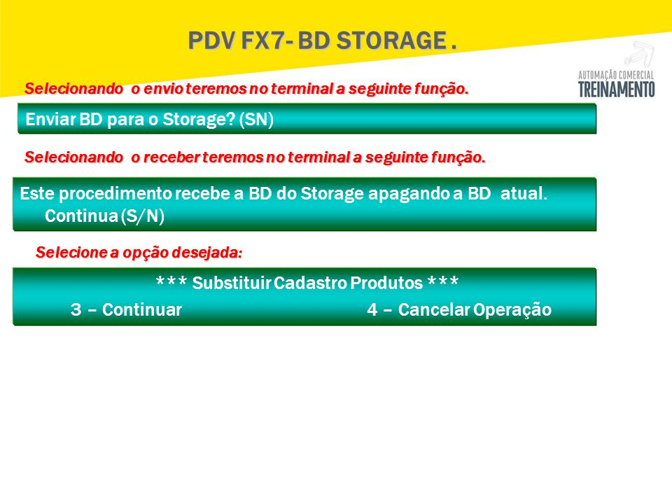 PDV FX7- BD STORAGE . Selecionando o envio teremos no terminal a seguinte função. Enviar BD para o Storage (SN)