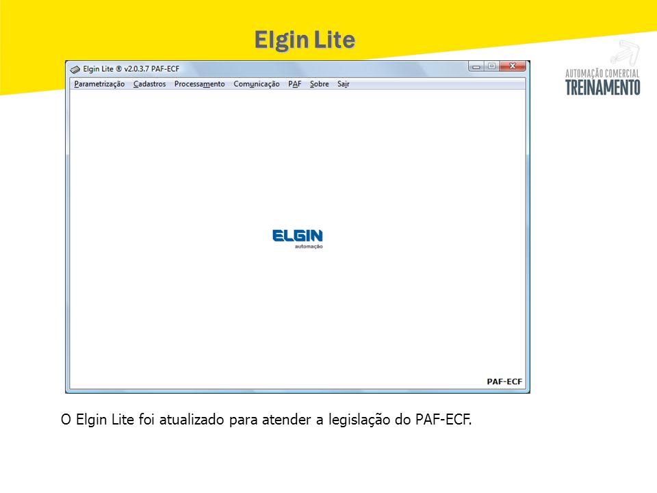 Elgin Lite O Elgin Lite foi atualizado para atender a legislação do PAF-ECF.
