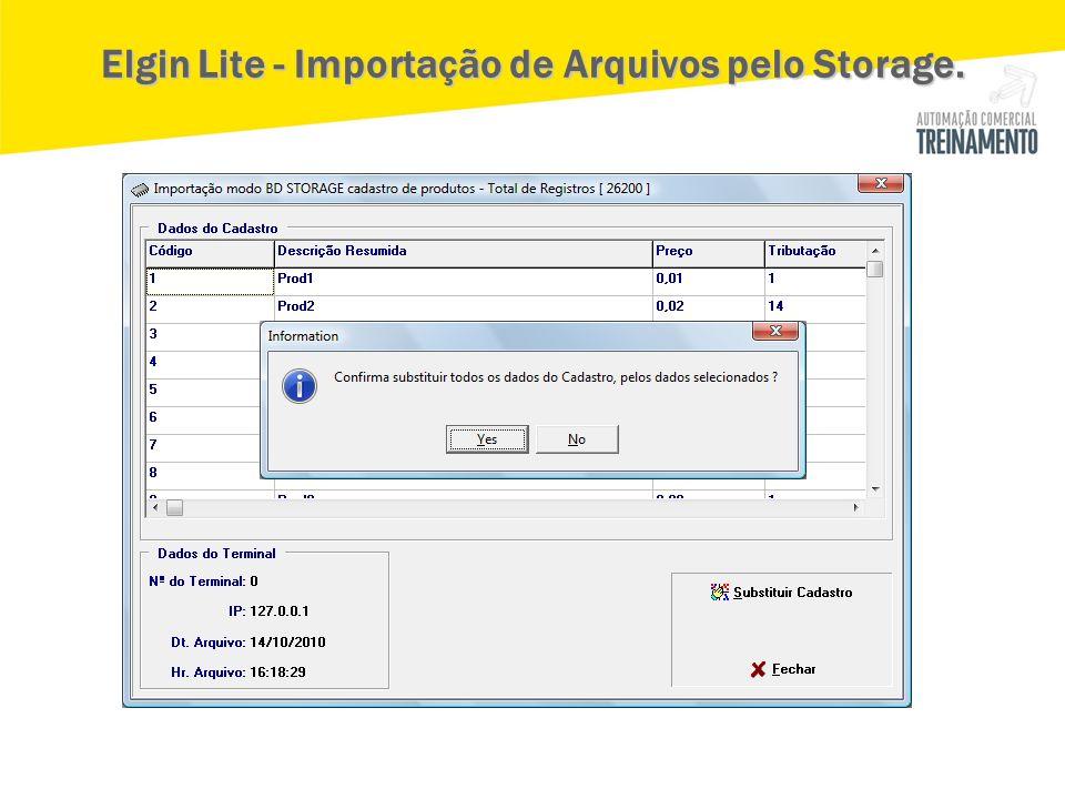 Elgin Lite - Importação de Arquivos pelo Storage.