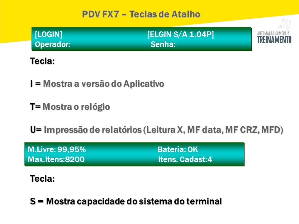 PDV FX7 – Teclas de Atalho