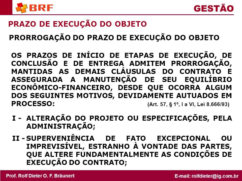 GESTÃO PRAZO DE EXECUÇÃO DO OBJETO
