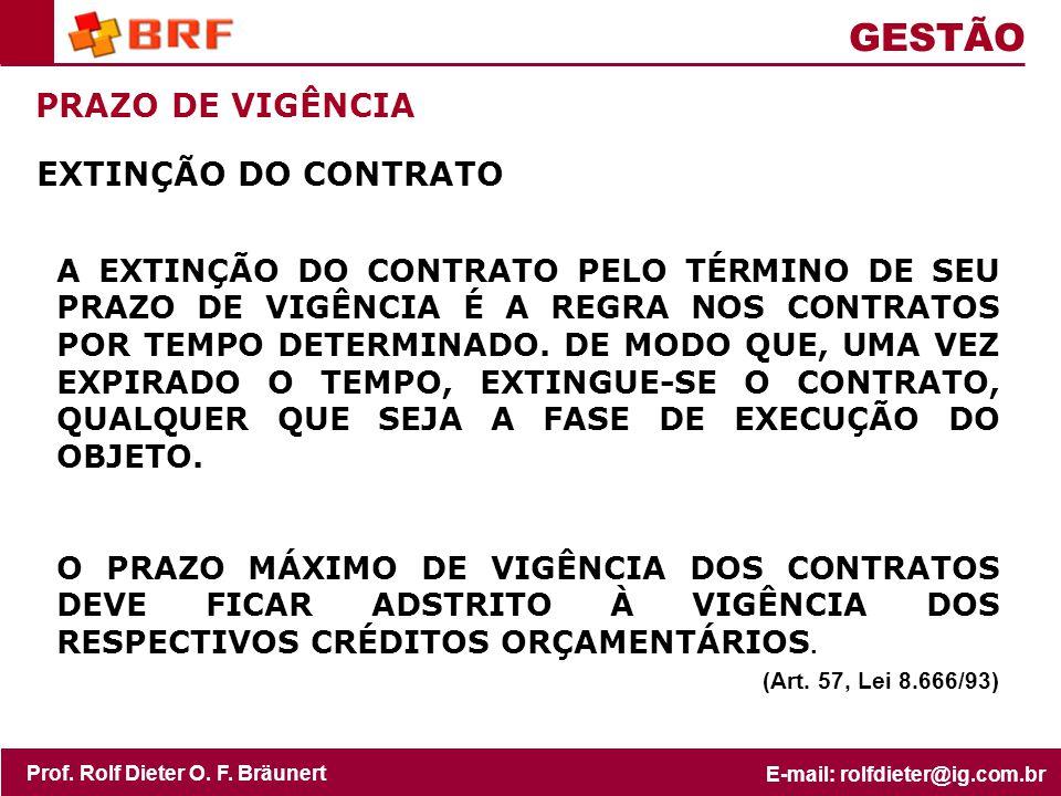 GESTÃO PRAZO DE VIGÊNCIA EXTINÇÃO DO CONTRATO