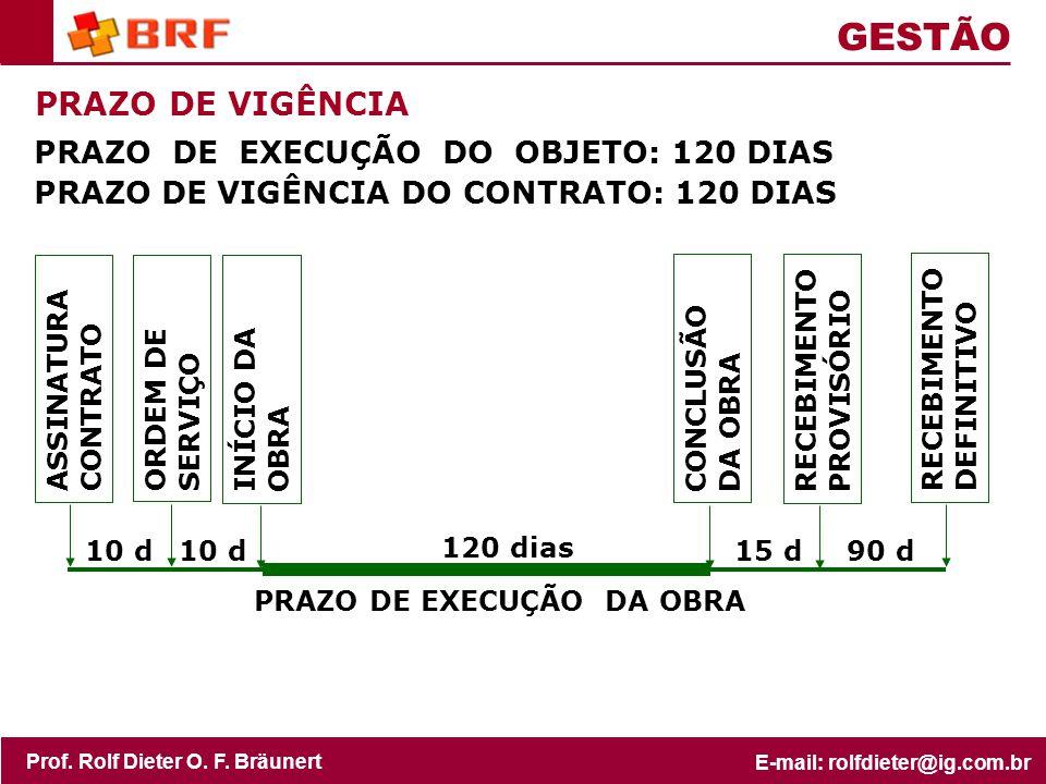 GESTÃO PRAZO DE VIGÊNCIA PRAZO DE EXECUÇÃO DO OBJETO: 120 DIAS