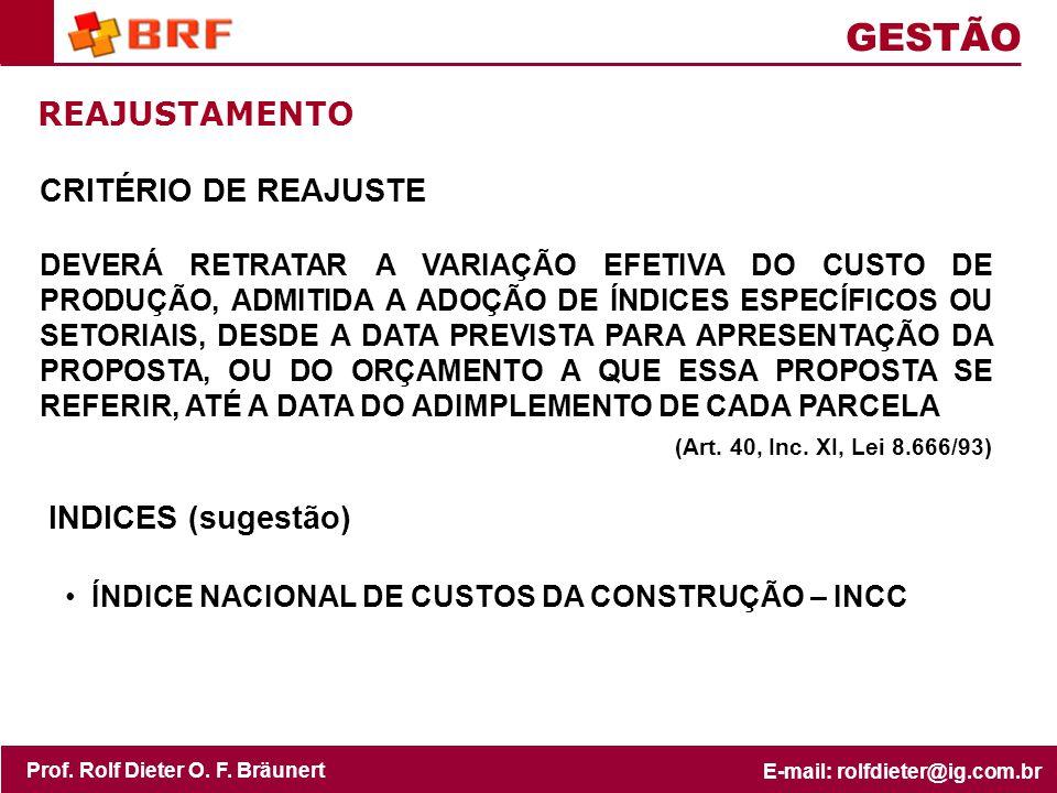 GESTÃO REAJUSTAMENTO CRITÉRIO DE REAJUSTE