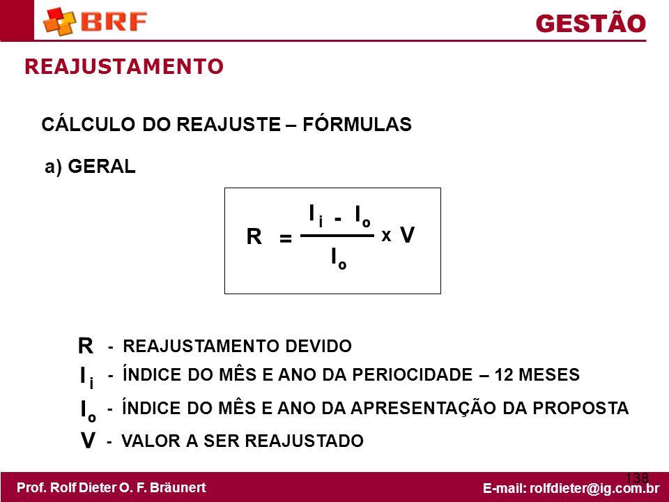 GESTÃO I - º R V = R I º V REAJUSTAMENTO