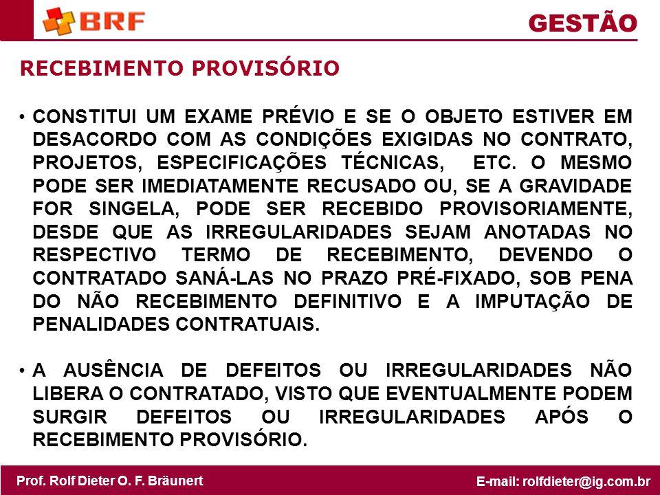 GESTÃO RECEBIMENTO PROVISÓRIO