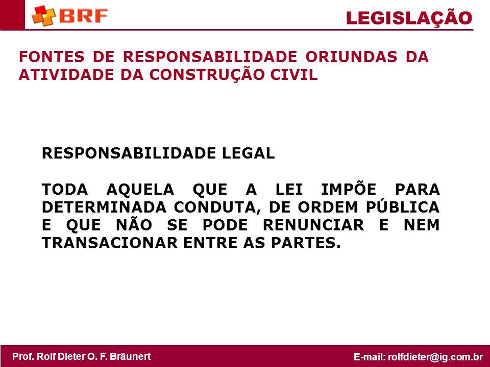 LEGISLAÇÃO FONTES DE RESPONSABILIDADE ORIUNDAS DA ATIVIDADE DA CONSTRUÇÃO CIVIL. RESPONSABILIDADE LEGAL.
