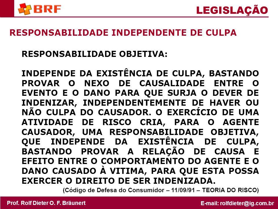 LEGISLAÇÃO RESPONSABILIDADE INDEPENDENTE DE CULPA