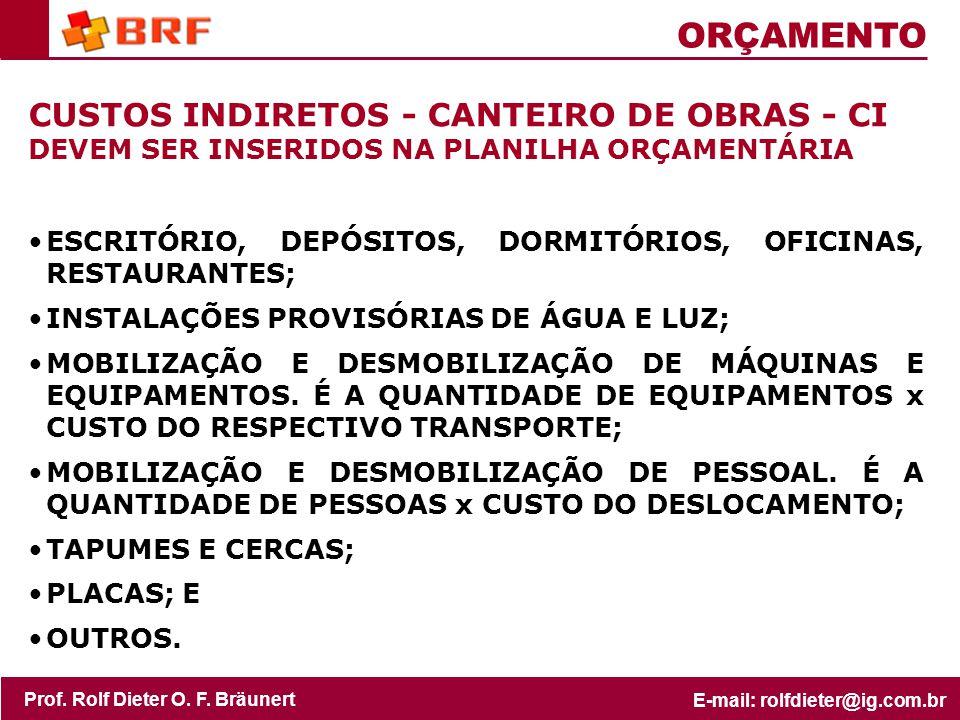 ORÇAMENTO CUSTOS INDIRETOS - CANTEIRO DE OBRAS - CI