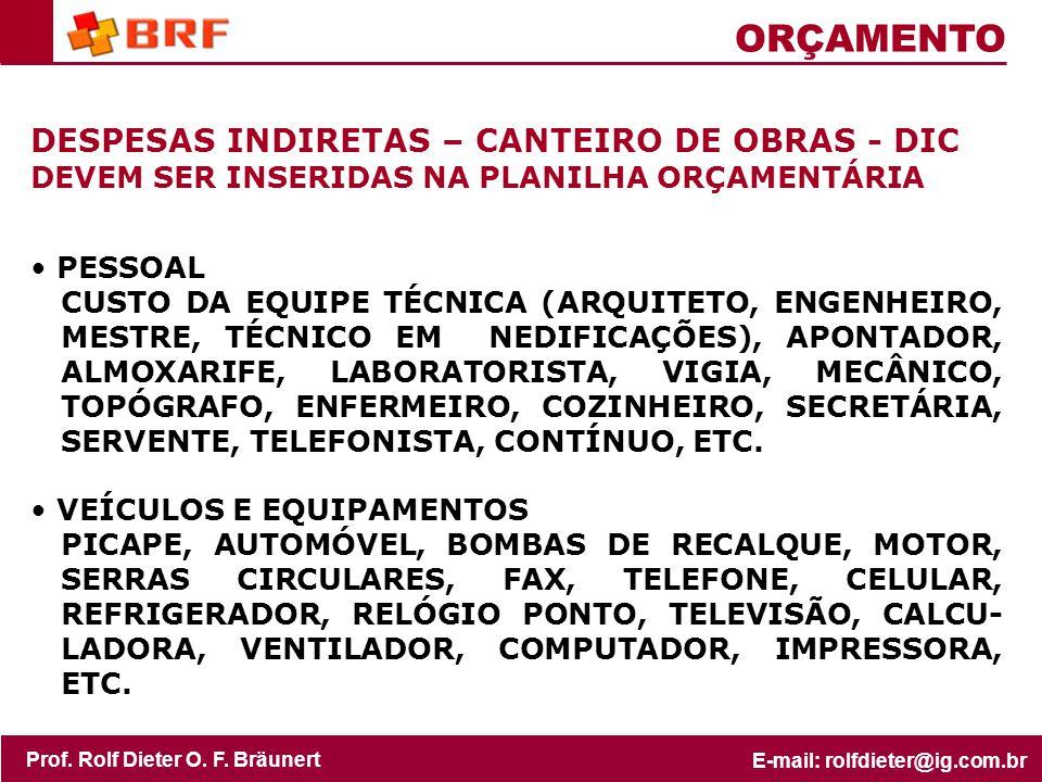 ORÇAMENTO DESPESAS INDIRETAS – CANTEIRO DE OBRAS - DIC