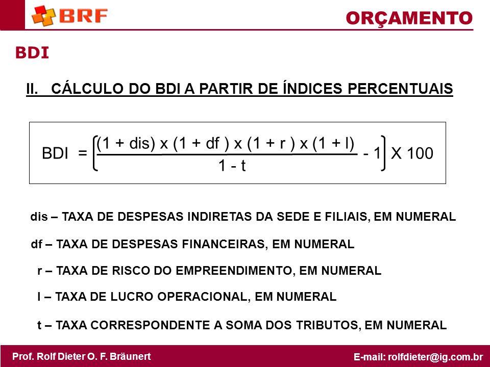 1 - t ORÇAMENTO BDI BDI = (1 + dis) x (1 + df ) x (1 + r ) x (1 + l)