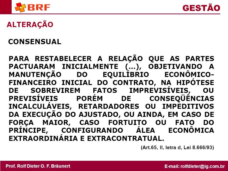 GESTÃO ALTERAÇÃO CONSENSUAL (Art.65, II, letra d, Lei 8.666/93)